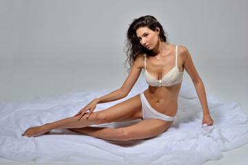 Beautiful woman in  white underwear