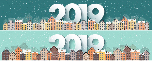 2019. Winter urban landscape. City with snow. Christmas and new year. Cityscape. Buildings.Vector illustration.Lettering.