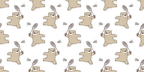 Bear seamless pattern vector polar Bear badminton racket cartoon tile background repeat wallpaper scarf isolated illustration