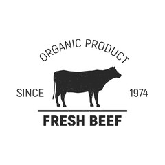 Fresh Beef logo. Vintage design. Template. Grunge texture. Vector illustration