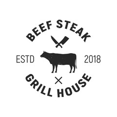 Beef Steak - Cow vintage logo concept. Emblem of Grill House. Cow silhouette. Grunge texture.