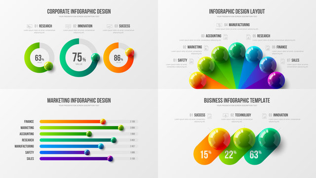 Radial bar marketing analytics presentation vector illustration template bundle. Business data horizontal bar chart design layout. Colorful 3D balls corporate statistics infographic elements set.