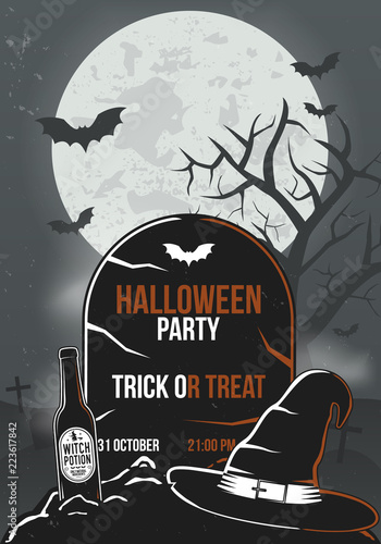 halloween party poster tombstone with bottle witch hat and bats