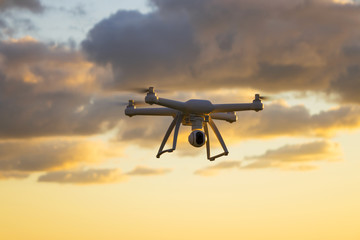 Drone on Cloud Background