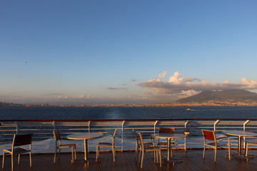 View from restaurant of the Bay of Naples at sunset