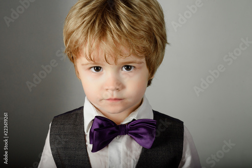 Fashion For Children Fashionable Little Boy In Stylish Clothes Bow