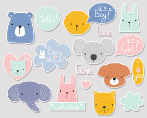 Set of cute baby shower stickers with cartoon animals and lettering. Vector hand drawn illustration.