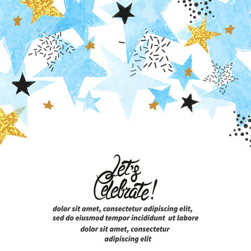 Abstract vector celebration background with blue watercolor stars and place for text.