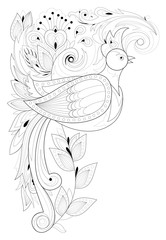 Black and white page for coloring. Fantasy drawing of beautiful fairyland bird and flowers. Pattern for print and embroidery. Worksheet for children and adults. Vector image.