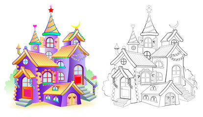 Colorful and black and white pattern for coloring. Illustration of toy fairy tale castle. Worksheet for children and adults. Vector image.