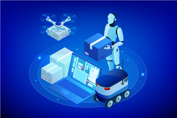 Isometric Drone Fast Delivery of goods in the city. Technological shipment innovation concept. Autonomous logistics. Robot delivery web concept