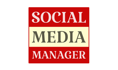 Social Media Manager - written on red card on white background