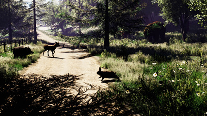 Beautiful sunny forest with animals in early spring. 3D Rendering
