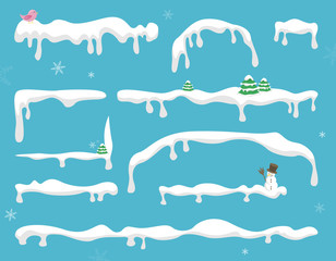 Schnee Winter Rahmen Vektor Set isoliert