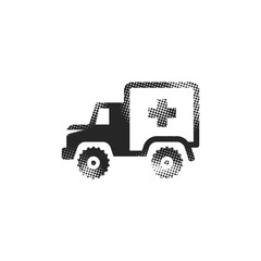 Halftone Icon - Military ambulance
