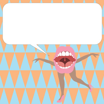 Flat design business Vector Illustration Empty template Layout for invitation greeting card promotion poster voucher. Open Mouth with arms and legs Singing Dancing Blank white Speech Bubble