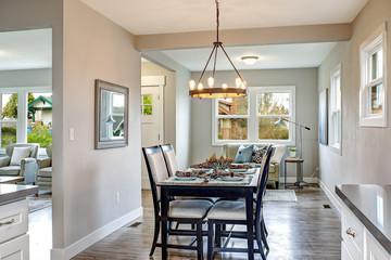 Light gray interior of transitional dining room