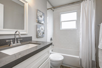 Modern bathroom interior with white vanity topped with gray countertop