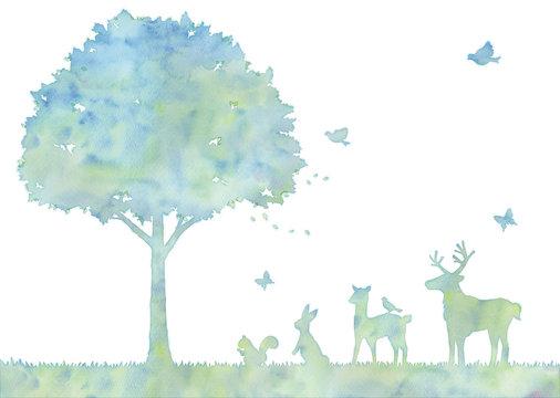 木と動物のイラスト