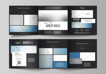 Set of business templates for tri fold square design brochures. Leaflet cover, abstract vector layout. Geometric blue color background, molecule structure, science concept. Connected lines and dots.