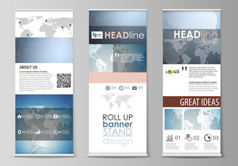 The minimalistic vector illustration of the editable layout of roll up banner stands, vertical flyers, flags design business templates. Scientific medical DNA research. Science or medical concept.