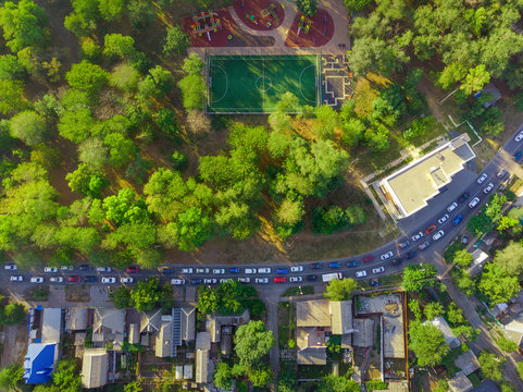 Traffic congestion in Rostov-on-don. Aerial wiew