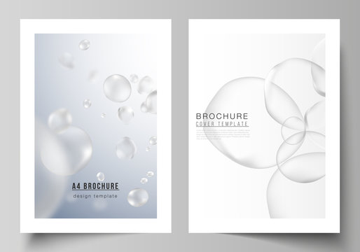 The vector layout of A4 format cover mockups design template for brochure, magazine, flyer, report. Spa and healthcare design. Soft color medical consept background with blurred molecules or particles