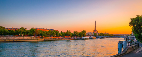 Sunset view of  Eiffel Tower and river Seine in Paris, France. Wall mural