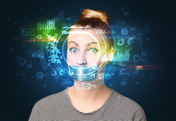 Biometric identification and Facial recognition system concept.