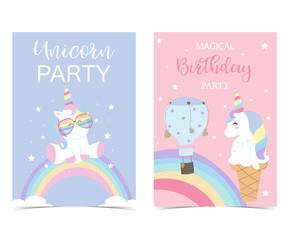 Pastel pink blue card with unicorn,head,rainbow,balloon,star and ice cream