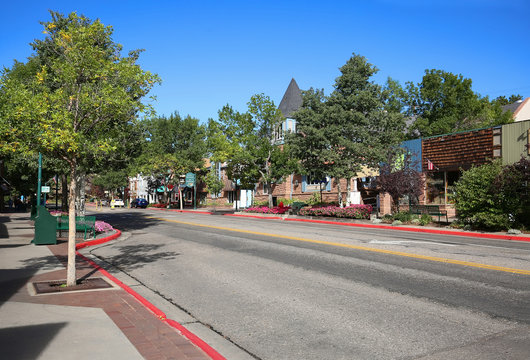 Downtown main street shopping district in Estes Park, the gateway to the Rocky Mountains in Colorado, USA.