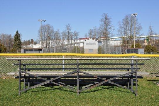 Wooden bleacher facing sports field