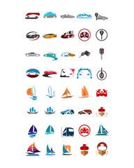 variation mixed vehicle transportation image vector icon logo symbol set