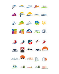 variation mixed athlete building image vector icon logo symbol set