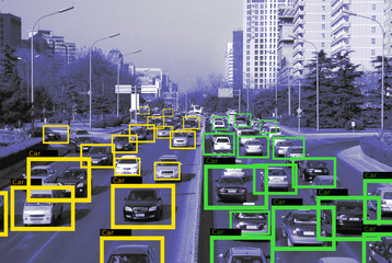 Machine Learning and AI to Identify  Objects technology, Traffic report, Image processing, Recognition technology. .