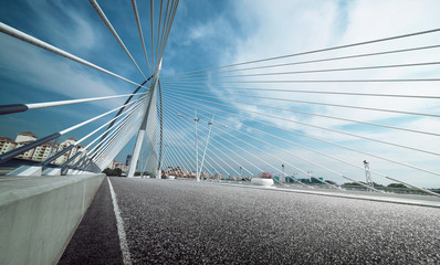 Modern cable-stayed bridge asphalt highway .