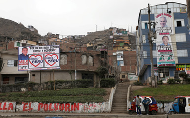 """Somos Peru"" party electoral banners are displayed in the Carabayllo district of Lima"
