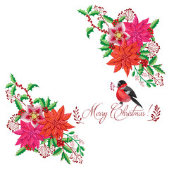 Christmas decoration with Bird and Poinsettia