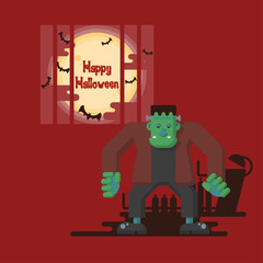 Happy Halloween, Frankenstein standing in a lab at night with steel bar, glowing full moon and flying bats with dark shadow on red background in cartoon style