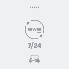 Steady internet services 24/7 - Vector web icon