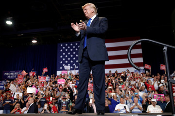 U.S. President Donald Trump arrives at a campaign rally in Las Vegas