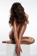 Poster Akt naked Hairy girl on cube. nude woman