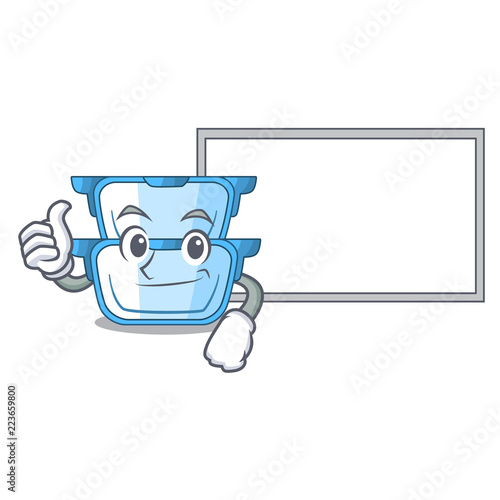 thumbs up with board double boiler for the gas cooker cartoon stock