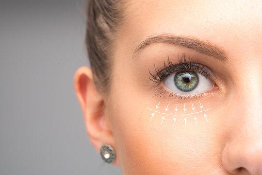 Beauty treatment on female face