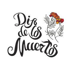 dia de muertos hand drawing lettering and marigold for day of death