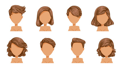 short hair woman Beautiful  hairstyle Black hair woman set. modern fashion for assortment. hair, short hair, fringe. curly hair salon hairstyles and trendy haircut vector icon set isolated