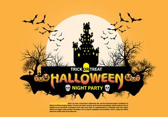 Happy Halloween night party holiday celebration on orange design poster vector illustration.