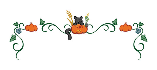 Black Cat and Jack-o-Lantern - Halloween Themed Top Border