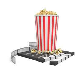 3d rendering of a full popcorn bucket standing on an empty clapperboard and a film strip on white background.