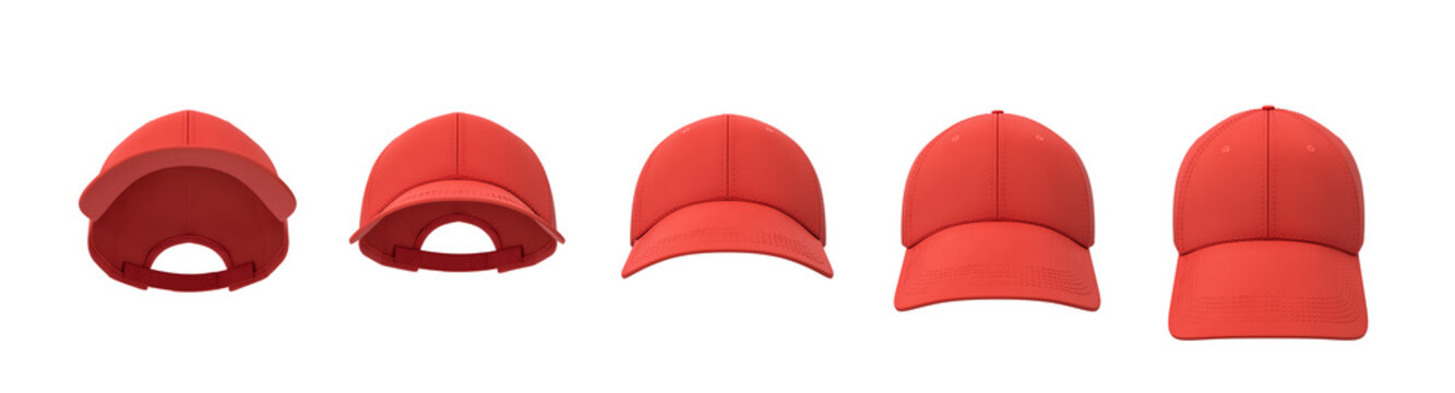 3d rendering of five red baseball caps shown in one line in a front view but in different angles.